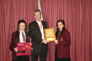 Cast plaque presentation at St George's RC High School in Worsley.