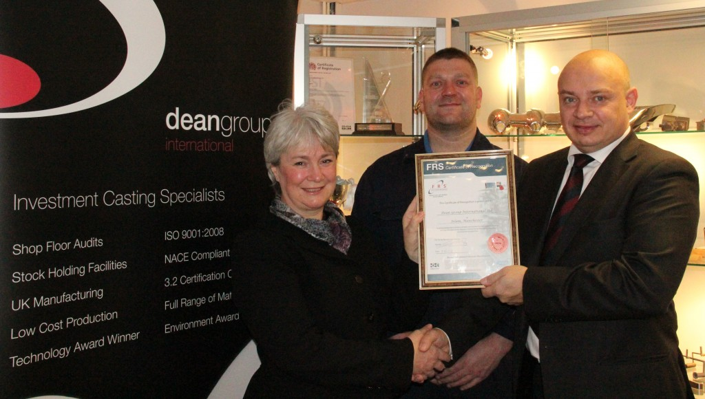 Tony Graham and Dean Group receiving Certificate of Recognition from FRS