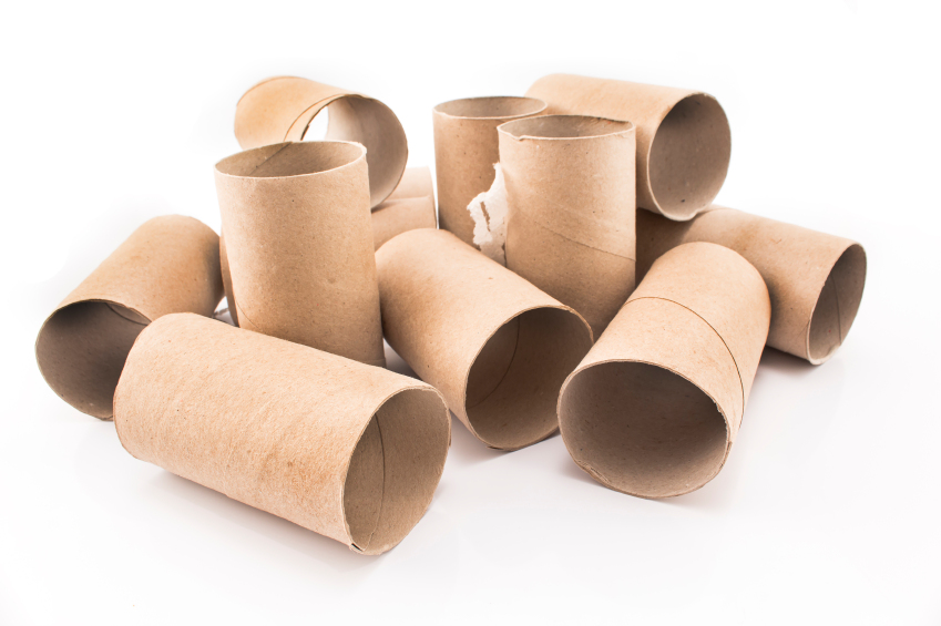 Empty toilet paper rolls isolated on white