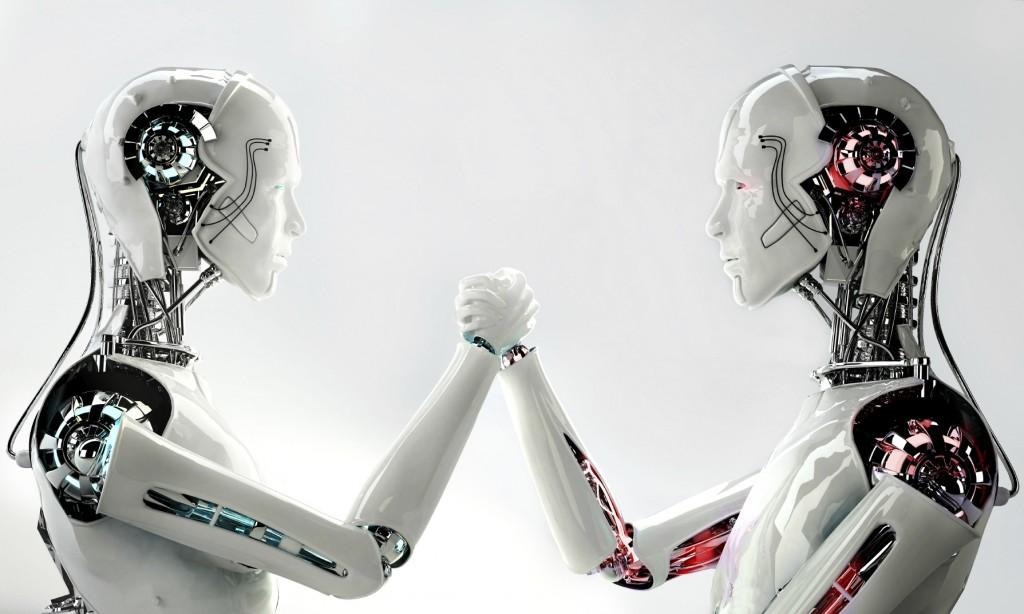 robotics, robots touching hands