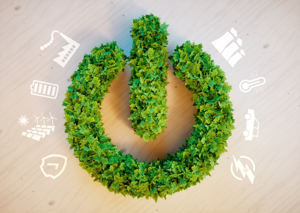 sustainability - green on and off switch