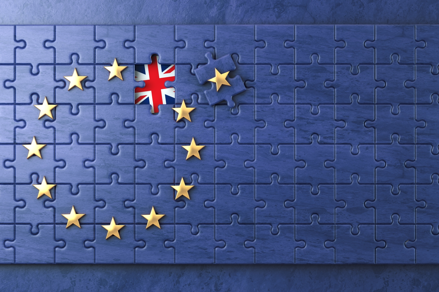 Brexit concept. Puzzle with EU European Union flag