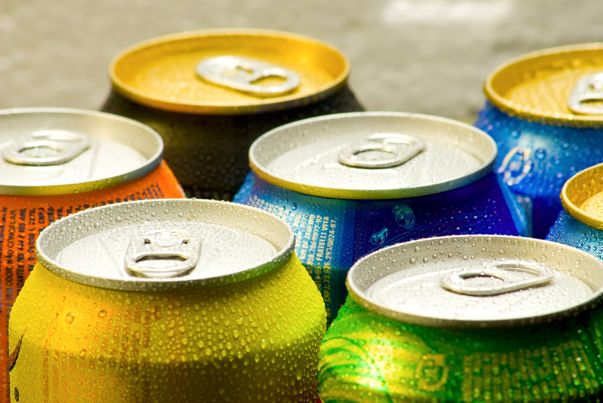 Aluminium cans of soft drink