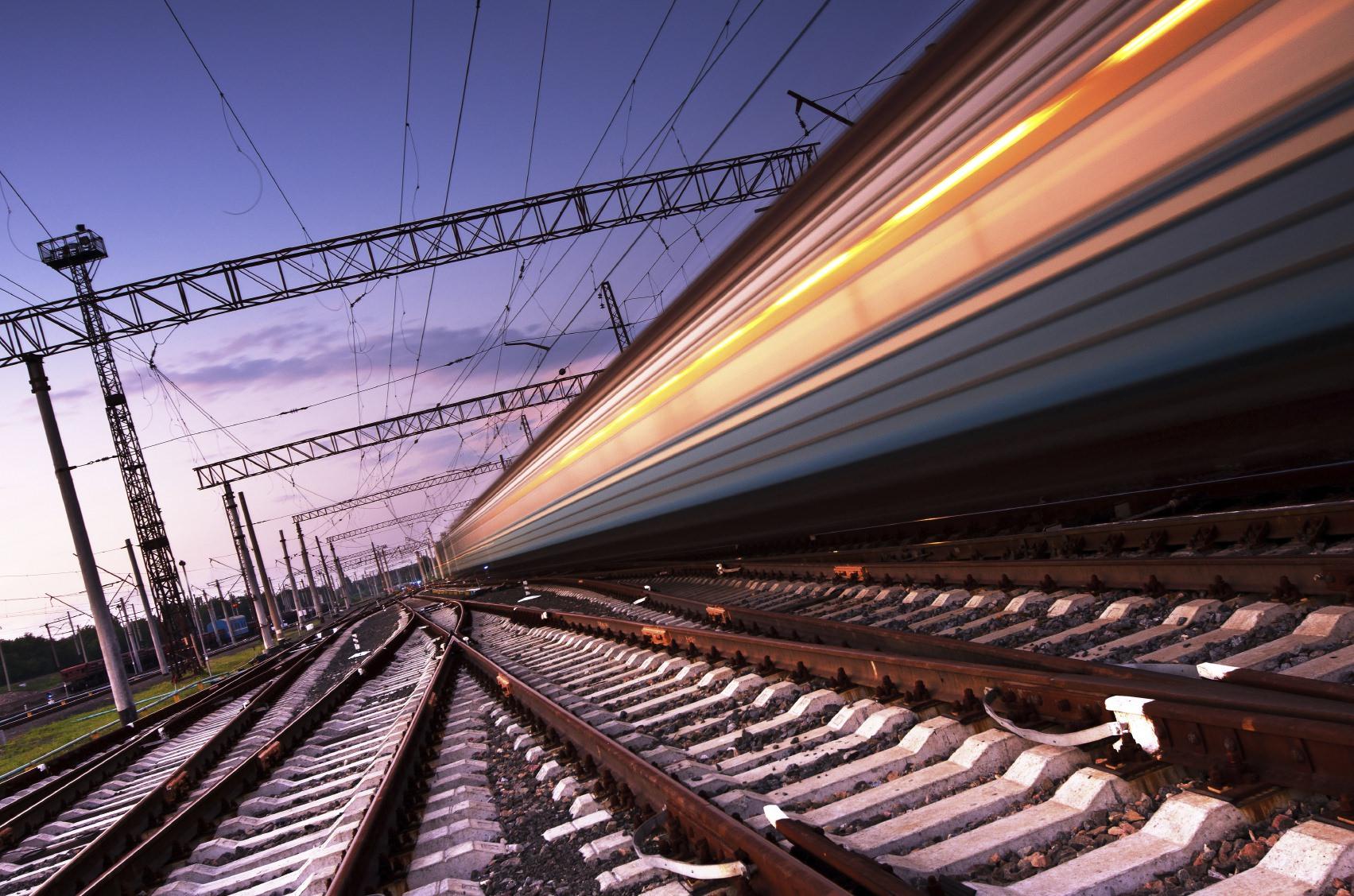 fast train on railway